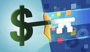 Dollar sign shaped business finance key