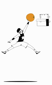 Basketball player dunking orange into cardboard box