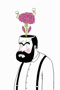 Flower growing from man's brain