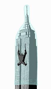Gorilla climbing skyscraper protected by condom