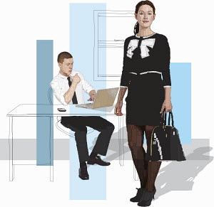 Young businessman and businesswoman in office