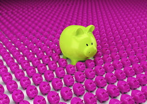 Rows of pink piggy banks with one large green one standing out