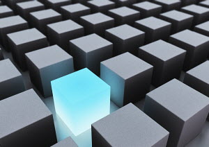 Abstract gray cubes and glowing blue cube