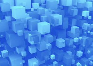Abstract full frame backgrounds pattern of 3D blue cubes