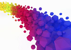 Abstract multicolored geometric shapes flowing on white background