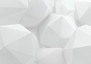 Close up of three dimensional white abstract polyhedrons