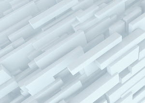 Abstract three dimensional structure of white cuboids