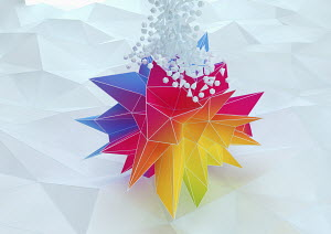 Contrast between white three dimensional shapes falling on to large multicolored polyhedron on low poly surface