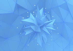 Contrast between small white three dimensional shapes on points of large blue polyhedron on low poly surface