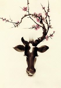Blossom branches growing from cow's head