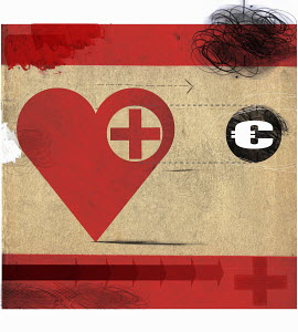 Heart with red cross following Euro symbol