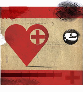 Heart with red cross following British pound symbol