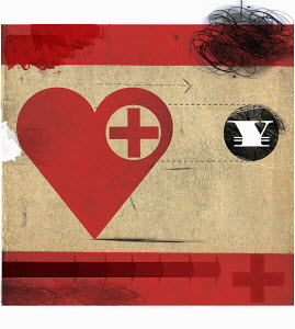 Heart with red cross following Yen symbol