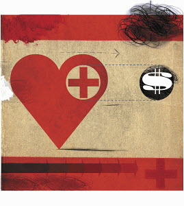 Heart with red cross following dollar sign