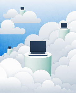 Laptops on pedestals in clouds