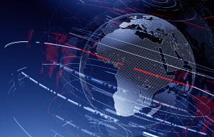 Data swirling around Africa on digital globe