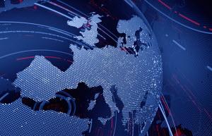 Data swirling around Europe on digital globe