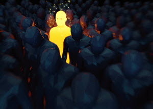 Bright glowing man standing out from the crowd