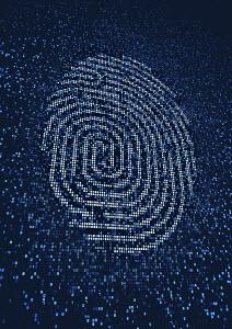 Fingerprint lit up on huge digital display screen