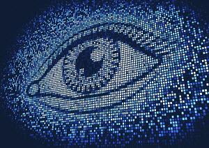 Eye lit up on huge digital display screen