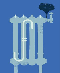 Steam emitting from radiator with dollar sign