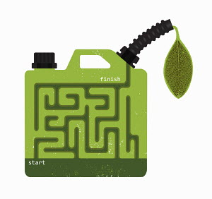 Biofuel gasoline can with start and finish maze
