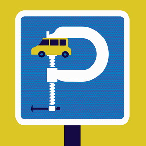 Parking sign with car squeezed in vise