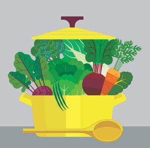Casserole dish full of healthy fresh vegetables