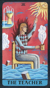 Tarot card depicting man with coffee cup as �the teacher�