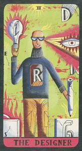 Tarot card depicting man with pencils as �the designer�