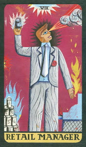 Tarot card depicting businessman with cash register as 'retail manager'