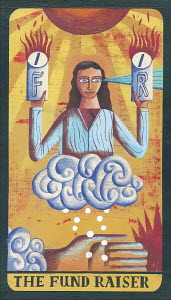 Tarot card depicting woman with collecting tins as 'the fund raiser'