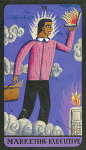 Tarot card depicting businessman with laptop as 'marketing executive'