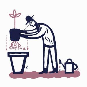 Diagram of man planting tree in pot