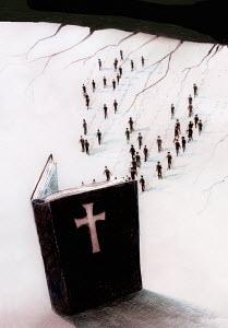 Crowd of people walking toward large open bible