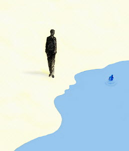 Walking man observing message in bottle floating in water forming face