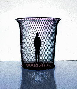 Silhouette of man standing in wastepaper basket - Silhouette of man standing in wastepaper basket