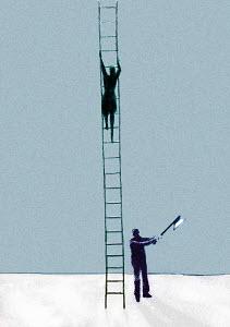 Businessman with axe chopping ladder businesswoman is climbing