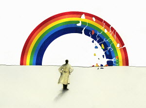 Man in trench coat looking at cracking rainbow