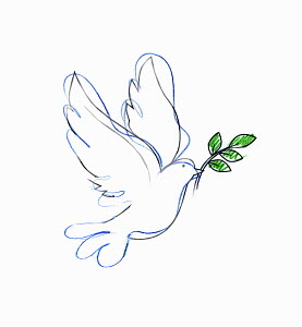 Drawing of dove carrying olive branch