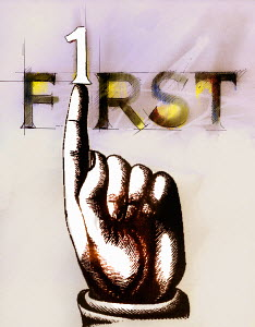 Finger pushing number 1 from �First� text