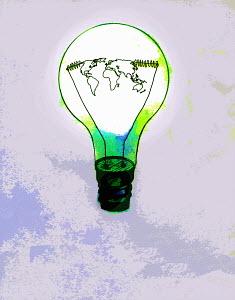 Global map inside green light bulb - Global map inside green light bulb