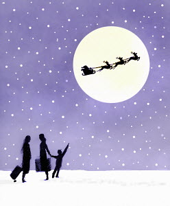 Child with mother looking up at silhouette of Santa Claus and reindeer in full moon