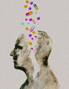 Assorted pills falling into man's head - Assorted pills falling into man's head