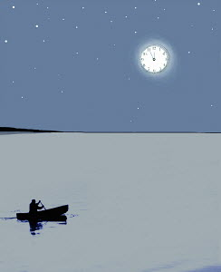Man in canoe under clock moon at midnight