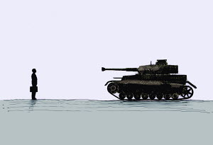 Military tank pointed at businessman - Military tank pointed at businessman