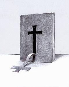 Cross peeling from cover of bible - Cross peeling from cover of bible