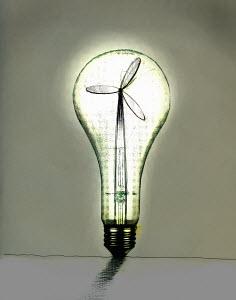 Wind turbine inside illuminated light bulb - Wind turbine inside illuminated light bulb