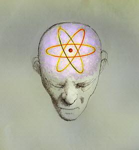 Atom symbol covering brain of man - Atom symbol covering brain of man