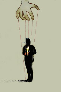 Hand controlling businessman on puppet strings - Hand controlling businessman on puppet strings